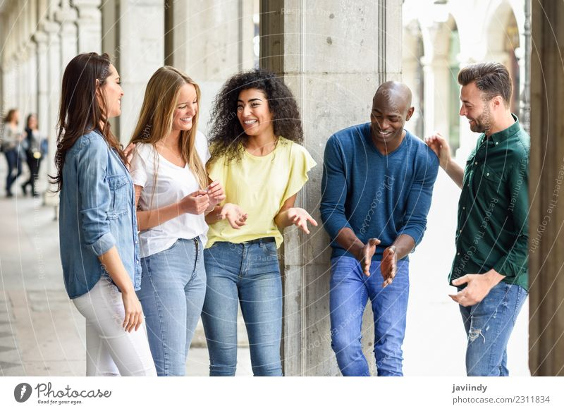 Multi-ethnic group of young people having fun outdoors Lifestyle Joy Happy Beautiful Summer Human being Young woman Youth (Young adults) Young man Woman Adults