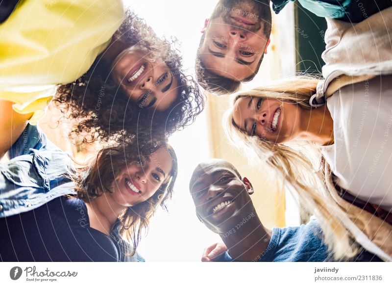 Group of young people together outdoors in urban background. Lifestyle Joy Human being Young woman Youth (Young adults) Young man Woman Adults Man Friendship 5