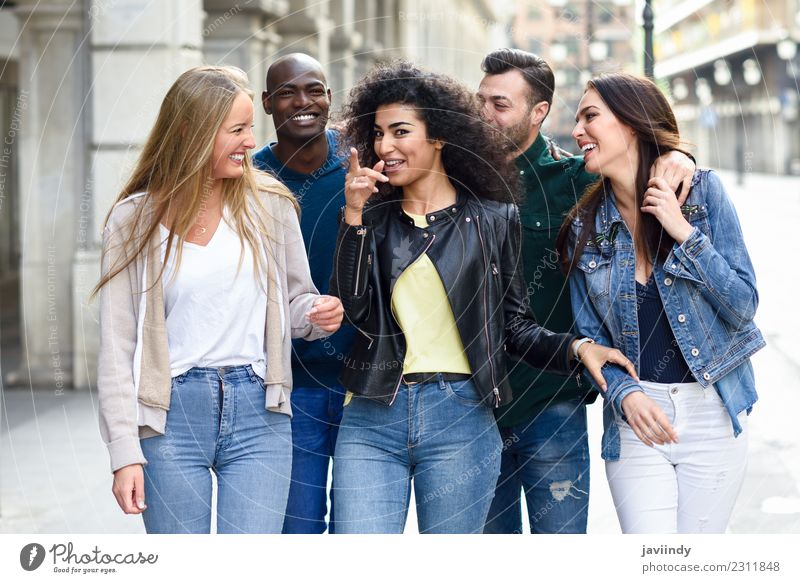 Multi-ethnic group of young people having fun together Lifestyle Joy Happy Beautiful Summer Young woman Youth (Young adults) Young man Woman Adults Man