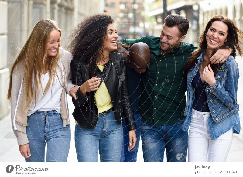 Multi-ethnic group of young people having fun together Lifestyle Joy Summer Human being Young woman Youth (Young adults) Young man Woman Adults Man Friendship 5