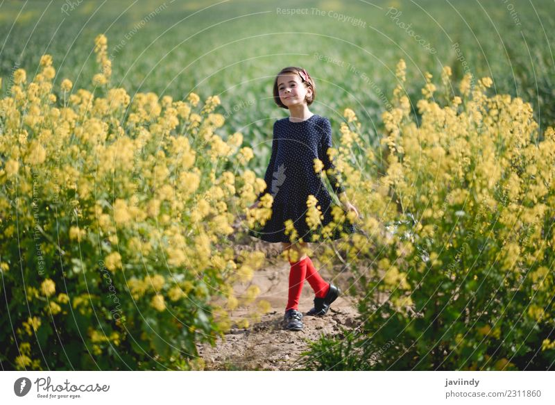 Little girl in nature field wearing beautiful dress Child Woman Human being Nature Summer Beautiful Flower Joy Girl Adults Lifestyle Meadow Grass Small Happy