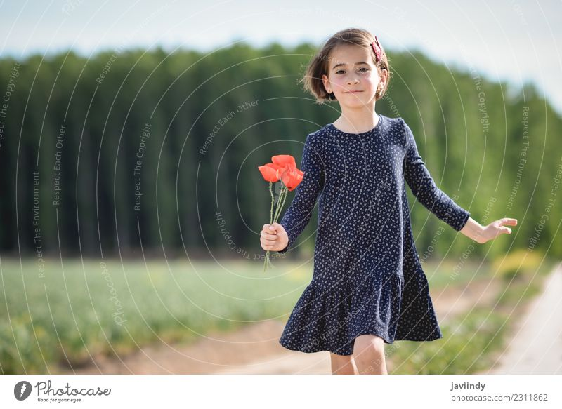 Little girl in nature wearing dress with poppies in her hand. Child Woman Human being Nature Summer Beautiful Flower Joy Girl Adults Lifestyle Meadow Grass