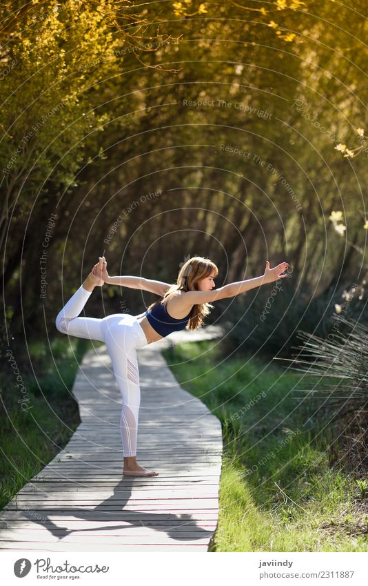 Young woman doing yoga in nature. Woman Human being Nature Youth (Young adults) Summer Beautiful White Relaxation Calm 18 - 30 years Adults Lifestyle Natural
