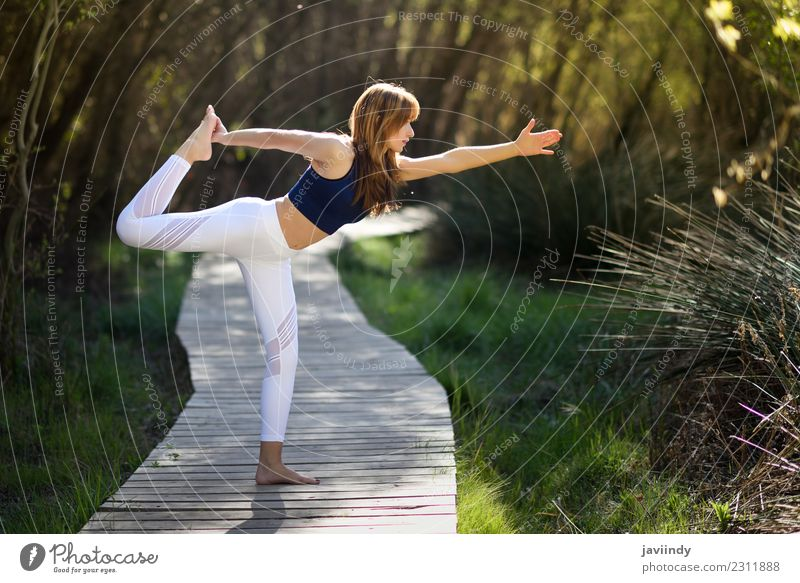 Young woman doing yoga in nature. Woman Human being Nature Youth (Young adults) Summer Beautiful White Relaxation Calm Joy 18 - 30 years Adults Lifestyle