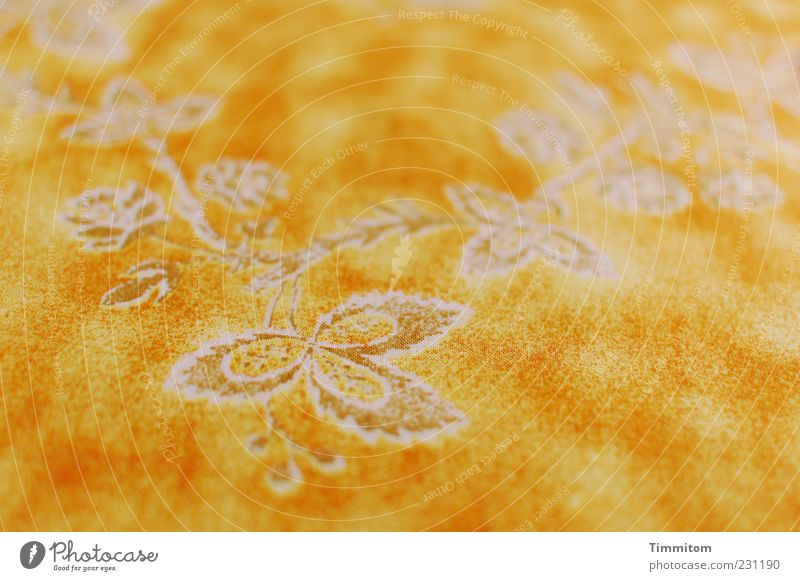 Place for the birthday cake Ornament Kitsch Yellow Flowery pattern White Close-up Tablecloth Colour photo Interior shot Deserted Day Shallow depth of field