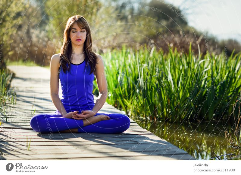 Young woman doing yoga in nature Woman Human being Nature Youth (Young adults) Summer White Relaxation Calm 18 - 30 years Adults Lifestyle Natural Sports