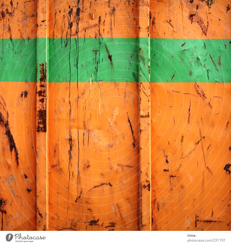 fruit orange lime green Container Metal Rust Stripe Broken Colour Metalware Scratch mark Tracks Bulge Containers and vessels Parallel Horizontal Vertical