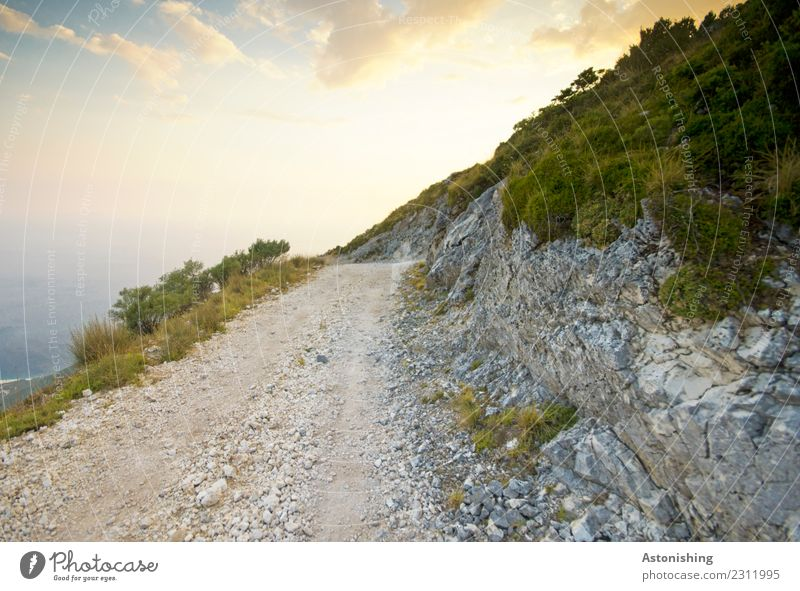 the way to the sea Environment Nature Landscape Plant Water Sky Clouds Sun Summer Weather Beautiful weather Tree Mountain Ocean Albania Lanes & trails Large