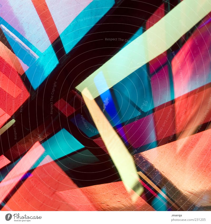 Blue Red Black Colour Style Line Art Glass Design Modern Exceptional Crazy Decoration Illuminate Uniqueness Whimsical
