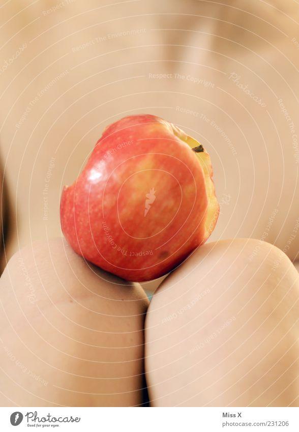 Human being Feminine Lie Exceptional Fruit Nutrition Skin Fresh Sweet Apple Delicious Desire Knee Alluring Between Sin
