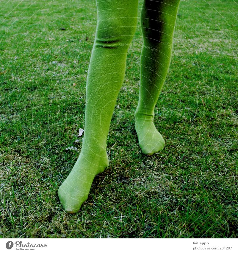 Human being Child Green Meadow Fashion Stand Infancy Wrinkles Tights Knee Tip of the toe Tone-on-tone Children's leg Kiddy clothes