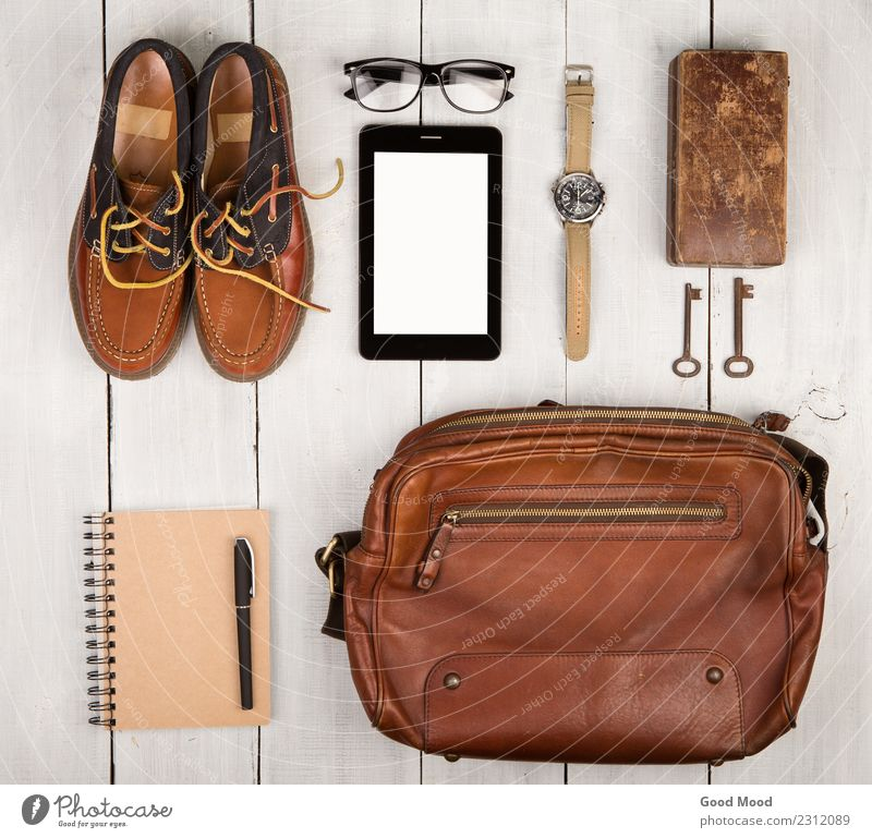 Travel concept - shoes, bag, tablet pc, notepad, watch, glasses Vacation & Travel Man White Adults Wood Boy (child) Fashion Trip Retro Vantage point Footwear