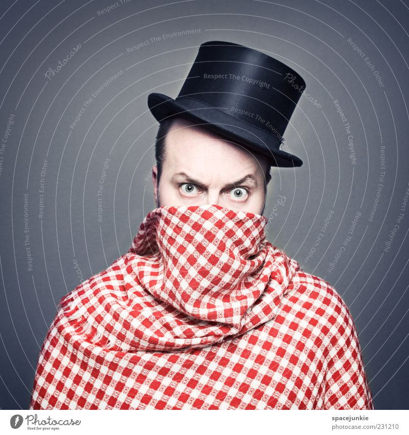 Human being Man White Red Black Adults Eyes Fear Masculine Crazy Exceptional Threat Uniqueness Hat Whimsical Hide
