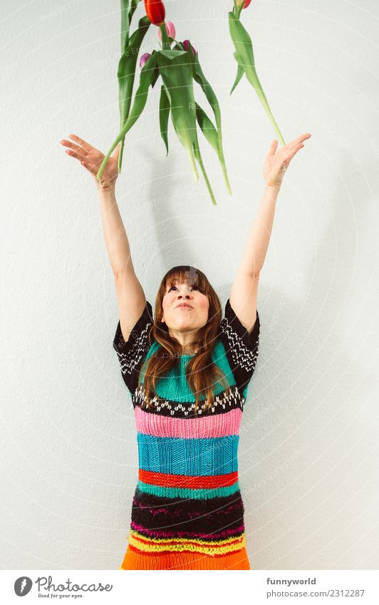 yippey. Spring! Human being Woman Adults 1 Flower Tulip Throw Joy Happy Happiness Enthusiasm Euphoria Spring fever Spring flower Spring celebration