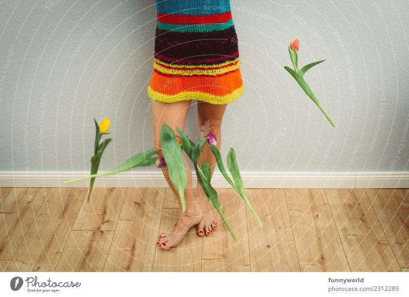 The tulips are already falling. Human being Feminine Legs Feet 1 Flower Tulip To fall Joy Surprise Lovesickness Anger Aggravation Embitterment End Easter Spring