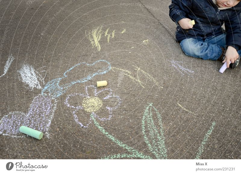 Human being Child Playing Boy (child) Lanes & trails Art Infancy Leisure and hobbies Heart Sit Asphalt Painting (action, artwork) Toddler Draw Chalk Artist