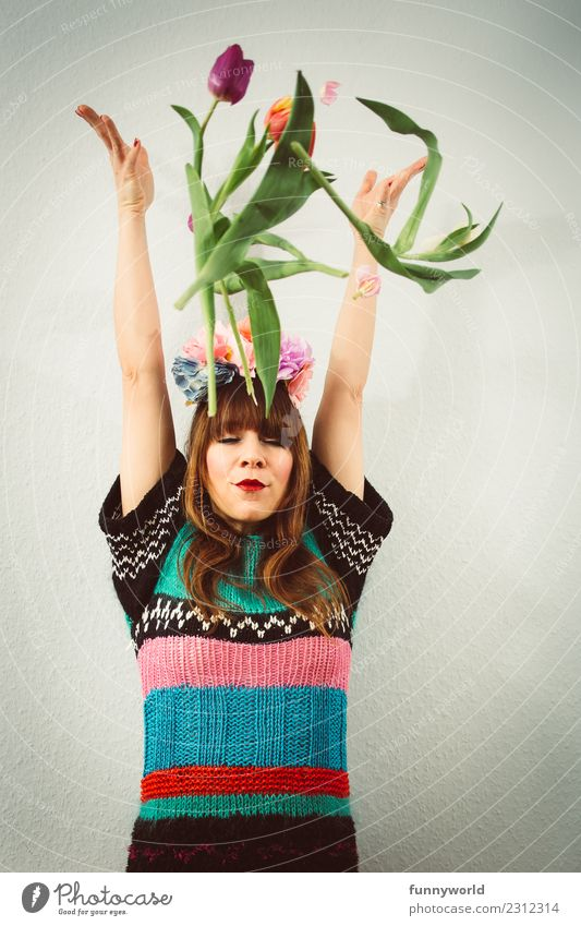 Woman throwing tulips Human being Feminine Adults 1 Blossoming To fall Throw Fresh Tall Funny Crazy Wild Spring fever Hope Belief Tulip Spring celebration