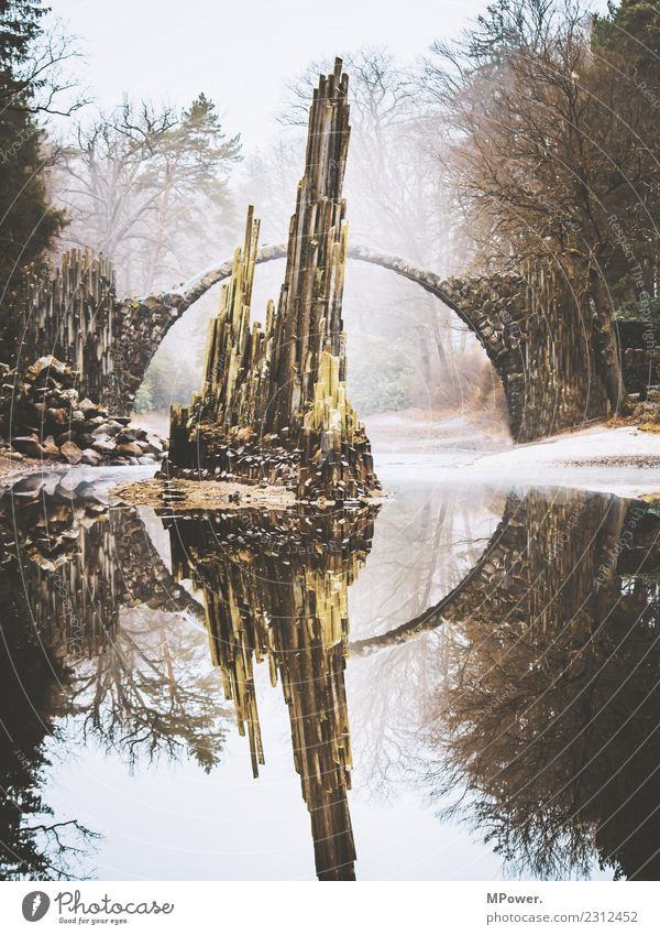 Nature Old Water Environment Stone Lake Rock Park Fog Bridge Bad weather Mystic Circular Extraterrestrial Rock formation