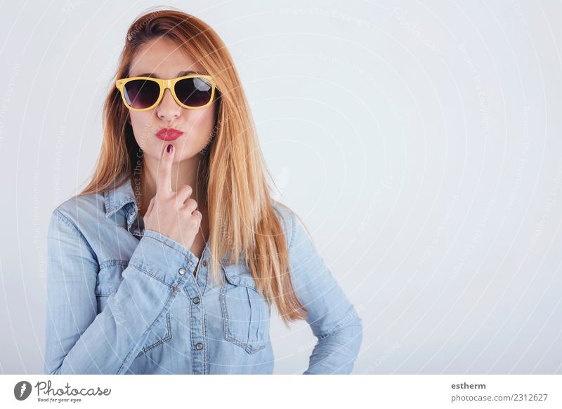portrait of thoughtful young woman with sunglasses Woman Human being Youth (Young adults) Young woman Beautiful Joy Adults Lifestyle Emotions Movement Feminine