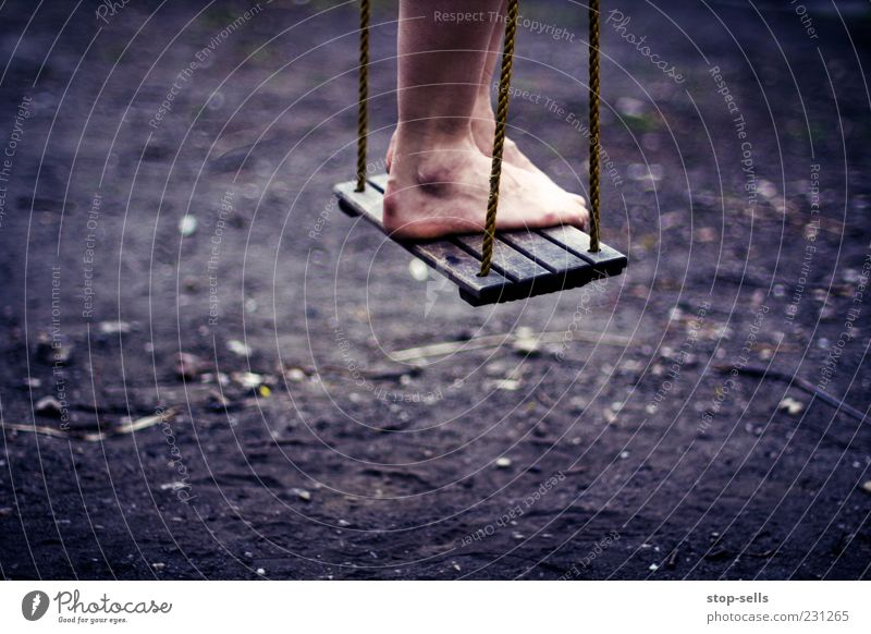 Wait and Hope Joy To swing Playing Stand Playground Child Rope Droop Contentment Calm Feet Legs Air Hover Colour photo Barefoot Earth Swing Childlike