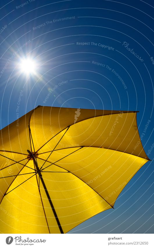 Yellow parasol with blue sky and shining sun Sunshade Hot Warmth Sunbeam Sky Summer Weather Climate Climate change Environment Nature Protection