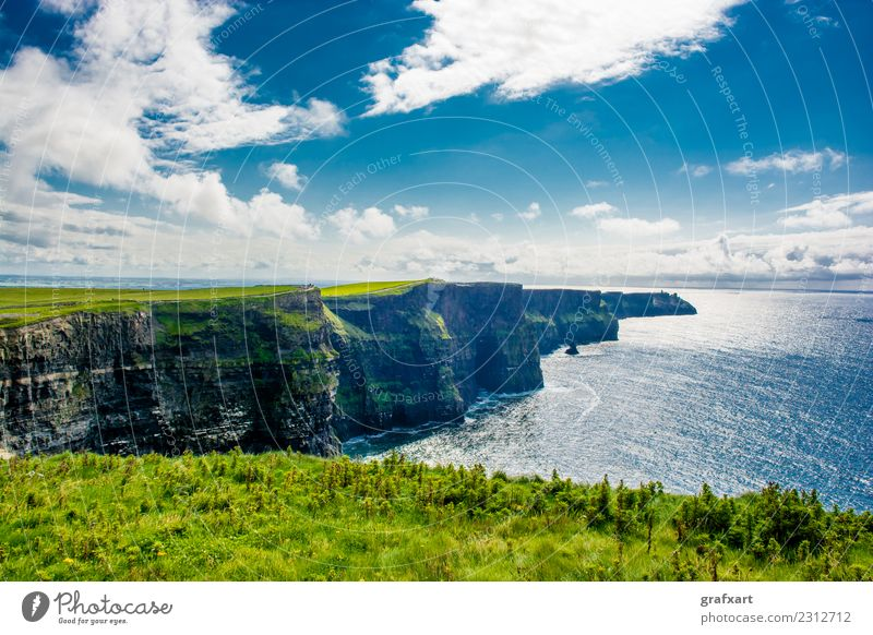 Cliffs of Moher on the coast of Ireland Coast Atlantic Ocean Tall Vantage point Surf clare Extreme Rock galway Risk Dangerous Large Sky Landscape Picturesque