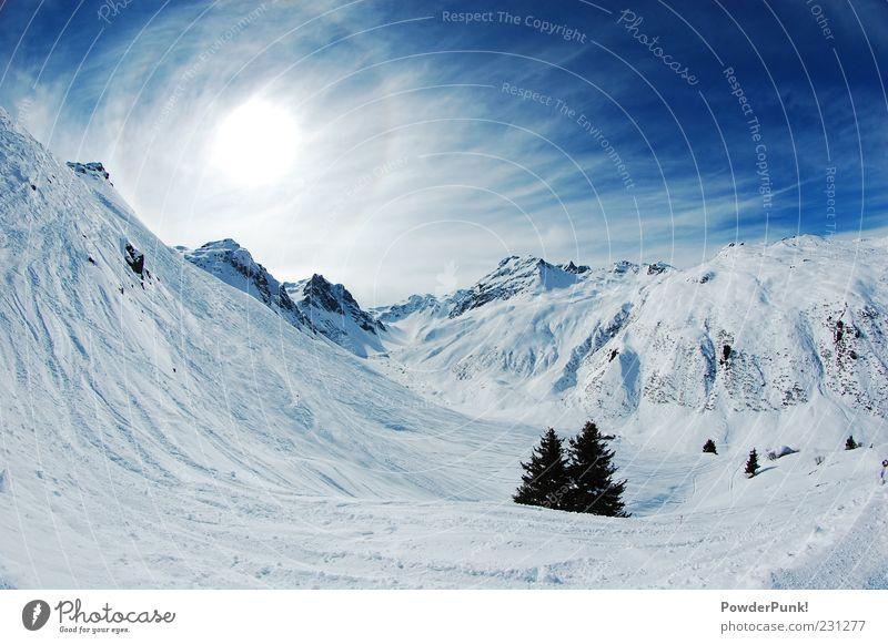 Sky Nature Blue Tree Sun Joy Calm Winter Landscape Far-off places Mountain Snow Rock Beautiful weather Alps Clean