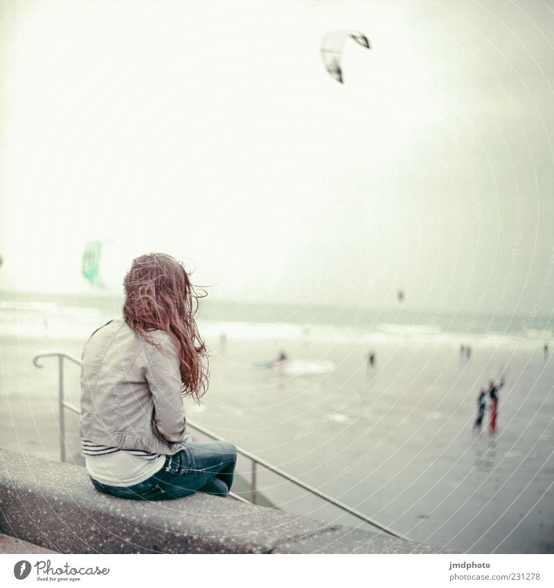 Human being Youth (Young adults) Vacation & Travel Ocean Beach Loneliness Adults Far-off places Relaxation Feminine Cold Wall (barrier) Horizon Sit Wet Free
