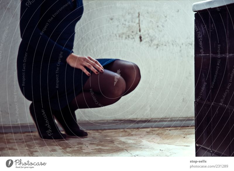 Human being Youth (Young adults) Hand Beautiful Relaxation Feminine Legs Feet Elegant Wait Esthetic Break Posture Bathroom Dress Tile