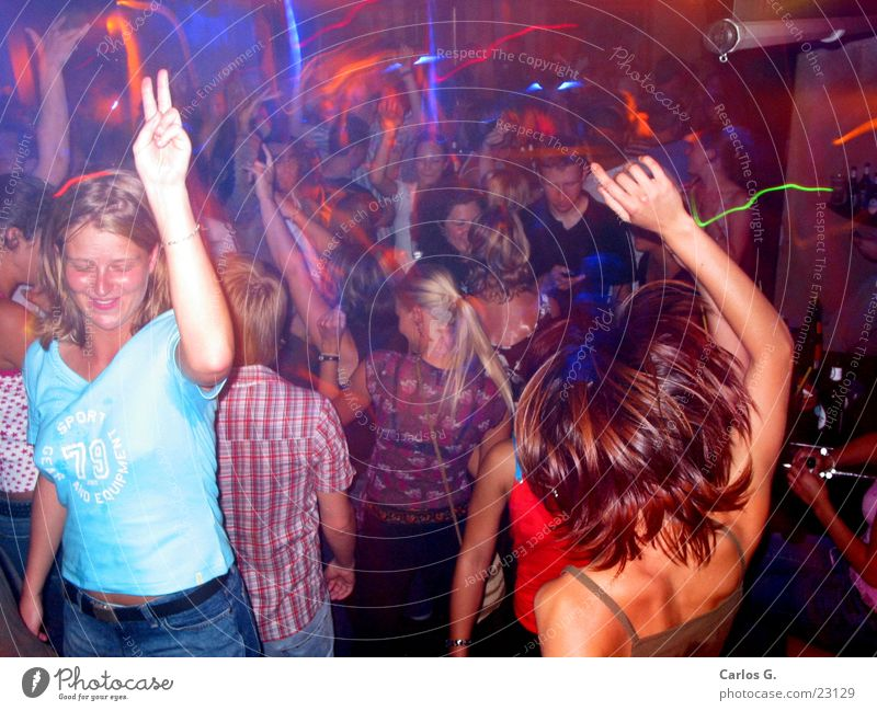 Fogcrowd 3 Red Party Techno Hip-hop Long exposure Disco Night life Group electro Dance Party mood Party goer Signal Lighting effect Movement Young woman