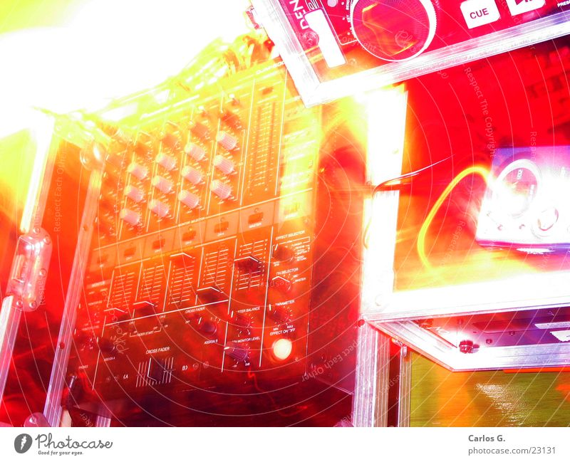 PhosporizedMixin Party Event Red Yellow Hip-hop Techno Long exposure Mixing desk pioneer disk CD player