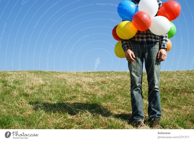 Human being Summer Meadow Grass Spring Legs Leisure and hobbies Wait Birthday Exceptional Stand Balloon Creativity Beautiful weather Surrealism Cloudless sky