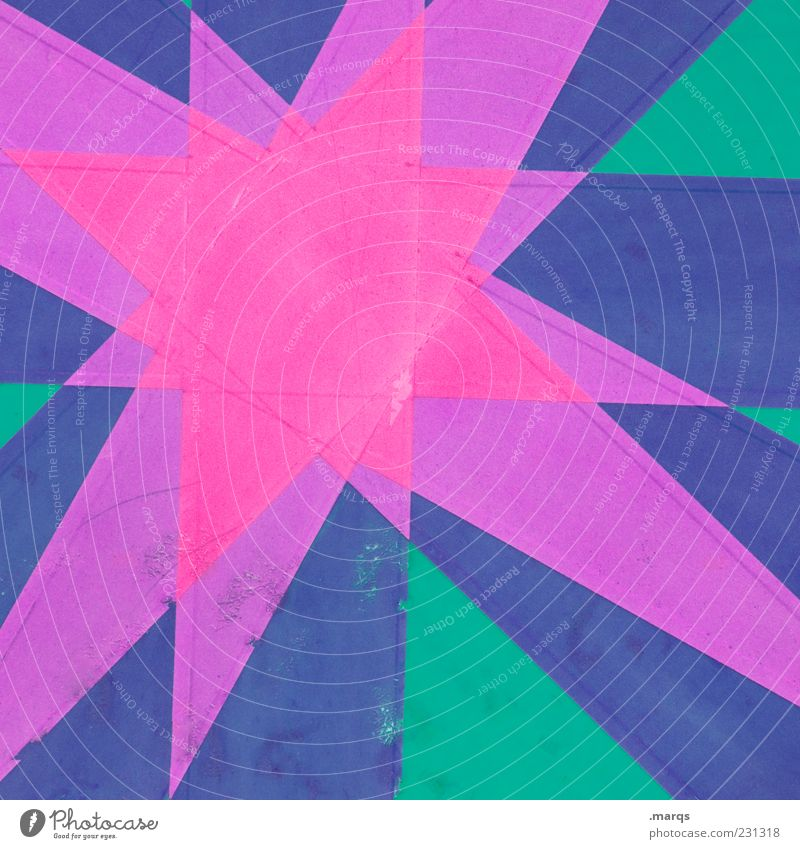 star Lifestyle Style Sign Star (Symbol) Exceptional Sharp-edged Blue Green Violet Colour Illustration Colour photo Close-up Abstract Pattern Deserted