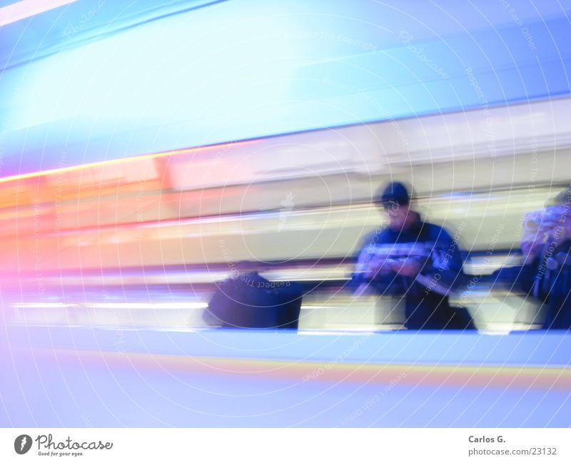 roller bridge Long exposure Highway Speed Escalator MUC Airport Blue Human being