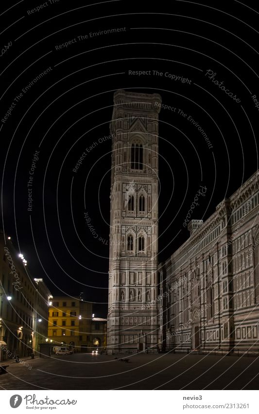 Santa Maria del Fiore (Cathedral of Florence) at night Town Capital city Downtown Old town Deserted Church Dome Places Tower Manmade structures Building