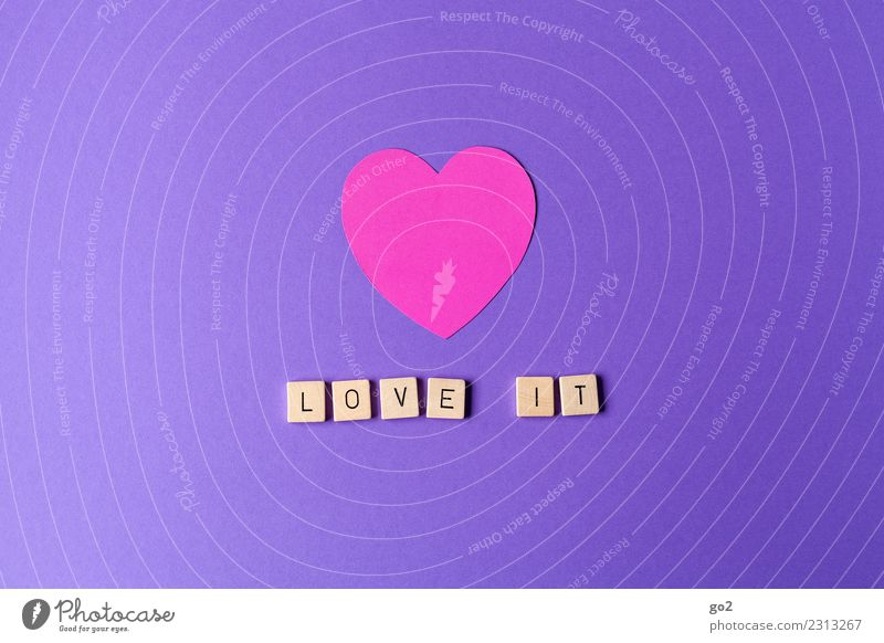 love it! Leisure and hobbies Entertainment Party Event Feasts & Celebrations Valentine's Day Wedding Birthday Shows Sign Characters Heart Positive Violet Pink