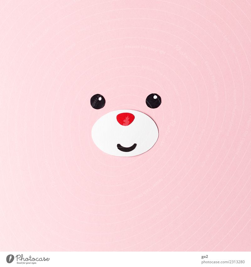 lucky bear Handicraft Animal Animal face Bear 1 Paper Decoration Cuddly toy Smiling Friendliness Happiness Cute Pink Red Emotions Joy Happy Love Love of animals