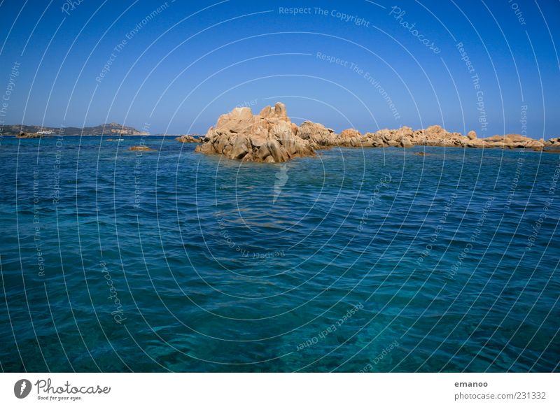 emerald deep blue Far-off places Freedom Summer Island Waves Nature Landscape Cloudless sky Horizon Rock Coast Bay Ocean Hot Beautiful Blue Costa Smeralda