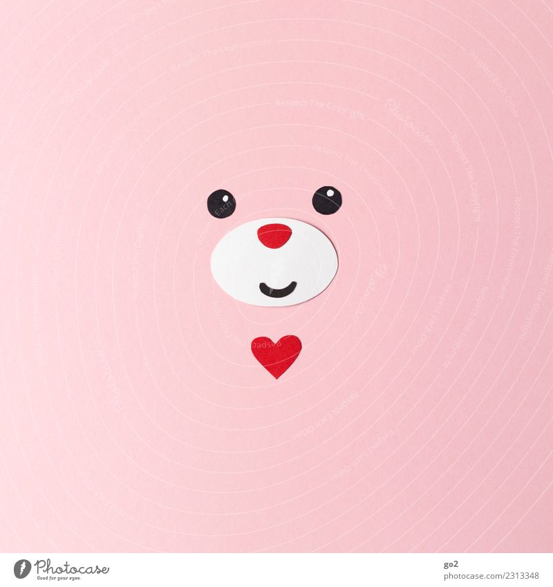 lucky bear Handicraft Valentine's Day Birthday Animal Animal face Bear 1 Paper Decoration Sign Heart Cute Pink Red Emotions Happy Happiness Safety (feeling of)