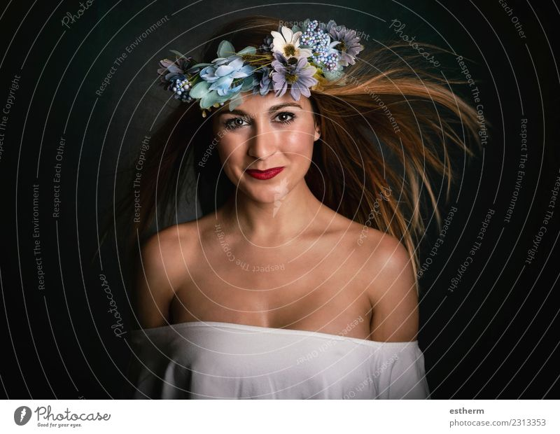woman with flower wreath on black background Lifestyle Elegant Joy Beautiful Wellness Human being Feminine Young woman Youth (Young adults) Woman Adults 1