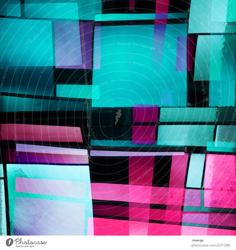 square Lifestyle Style Design Art Glass Line Illuminate Exceptional Cool (slang) Hip & trendy Uniqueness Crazy Multicoloured Chaos Colour Whimsical Mosaic