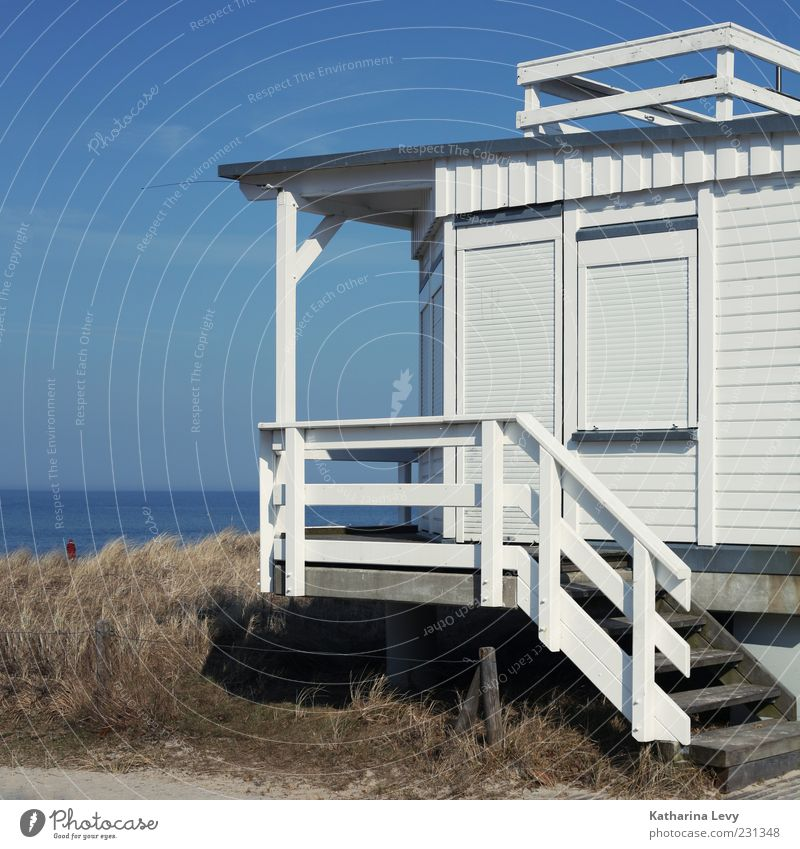 Sky Blue White Summer Ocean Beach Loneliness House (Residential Structure) Horizon Stairs Safety Protection Beautiful weather Handrail Hut Baltic Sea
