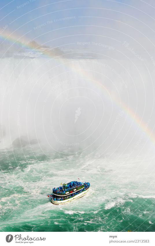 Into the wet Vacation & Travel Tourism Cruise Water Ocean Lake River Waterfall Niagara Falls (USA) Canada Transport Passenger traffic Navigation Boating trip