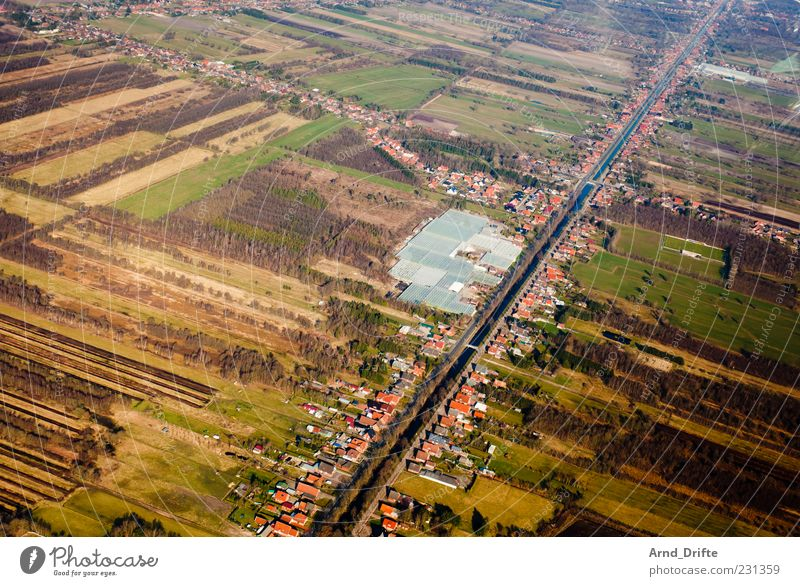 Kind of weird. Landscape Field Bog Marsh River Village Small Town Building Channel Waterway Germany Börgermoor Green Brown Structures and shapes Agriculture