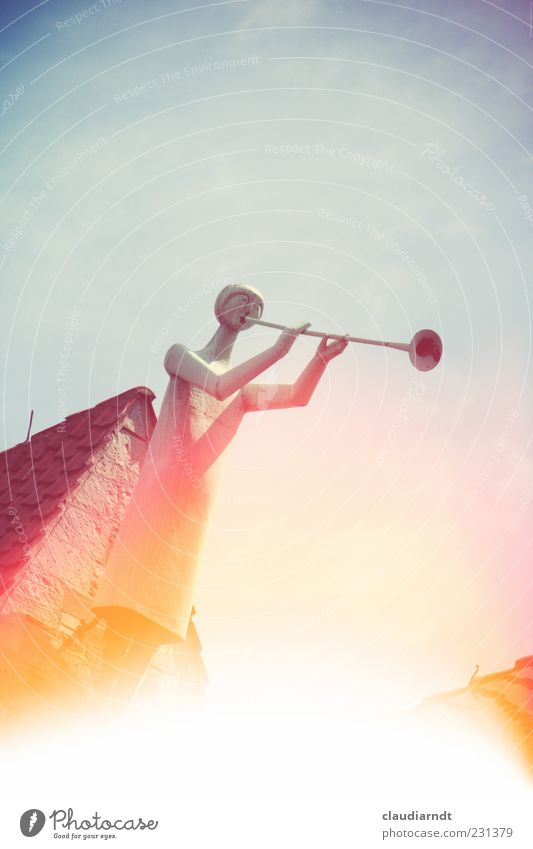angel Art Sculpture Music Church Roof Metal Belief Trombone Musical instrument Wind instrument Make music Gable end Roof ridge Glare effect Retro Colours