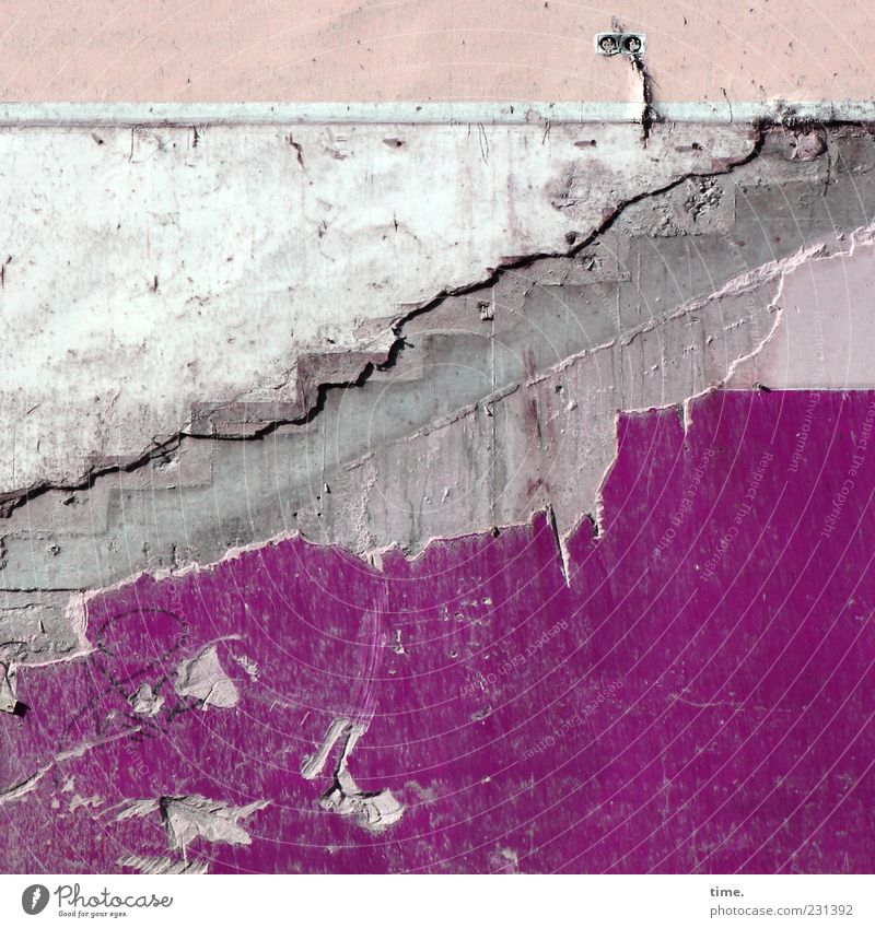 Shopping Paradise (lost version) Wall (barrier) Wall (building) Stairs Stone Broken Gray Violet Pink White Chaos Apocalyptic sentiment Colour Decline Past
