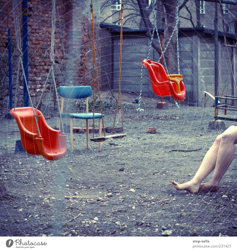 female Leisure and hobbies Playing Woman Adults Legs Sit Playground Swing Chair Muddled Chaos Untidy Feet Woman's leg Events Empty Center point Mysterious Dirty