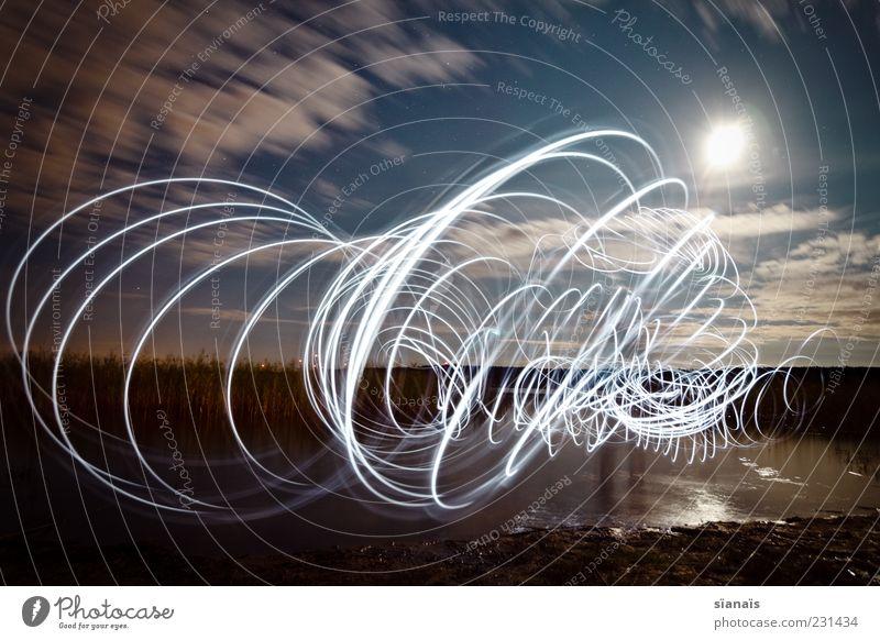 Tasmanian devil Nature Landscape Water Night sky Lakeside Draw Dark Surrealism Painting (action, artwork) Flashlight Ghostly Spiral Suction Magic Circle