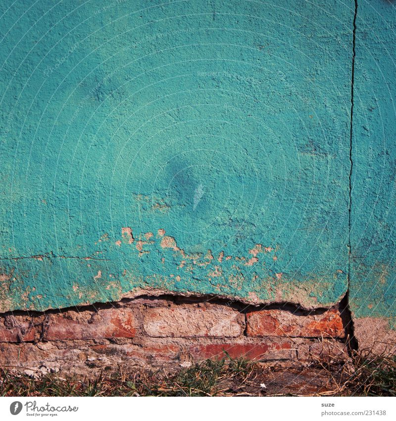 Blue House (Residential Structure) Wall (building) Wall (barrier) Background picture Dirty Facade Concrete Authentic Broken Transience Derelict Past Decline