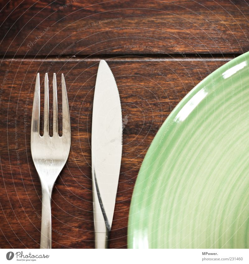 meal Lunch Crockery Plate Cutlery Knives Fork To enjoy Brown Green Silver Table Wood Tidy up Nutrition Meal Set meal Rustic Glittering Ceramic plate